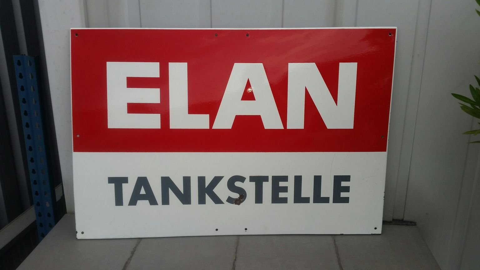 Emailschild Elan Tankstelle Emailschilder, Schilder und