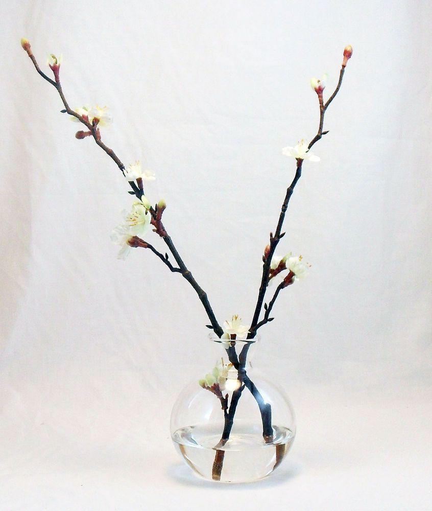 Silk Flower White Cherry Blossom Bottle Fake Artificial Water Flower