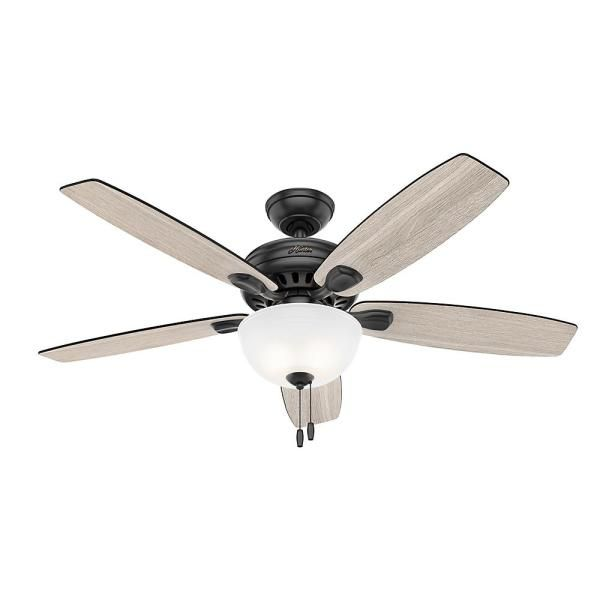 Hunter Stratford 52 In Led Indoor Matte Black Ceiling Fan With Light Kit 50486 The Home Depot In 2020 Ceiling Fan With Light Black Ceiling Fan Ceiling Fan