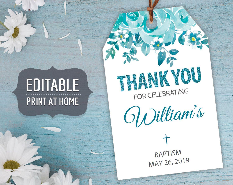 Baptism Printable Gift Tags Boy Editable Personalized First Etsy In 2020 Gift Tags Printable Editable Gift Tags Printable Gift