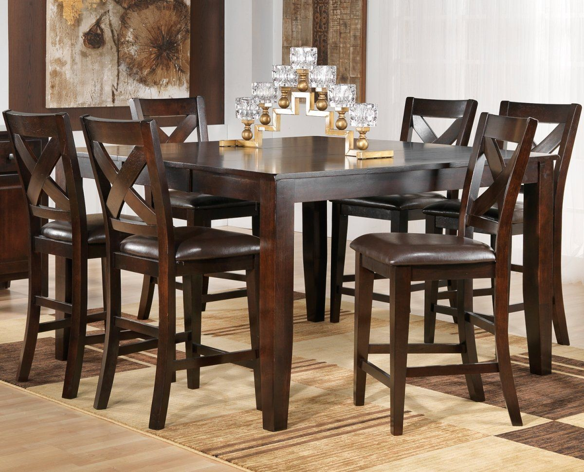 Casual Dining Room Design With 7 Pieces Soho Rectangular Shaped Pub Style Kitchen Tables Bold Cross Back Designed Chairs And Brown Leather Look