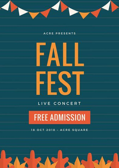 Dark Blue and Orange Fall Concert Festival Flyer Fall Festival - potluck sign up sheet template