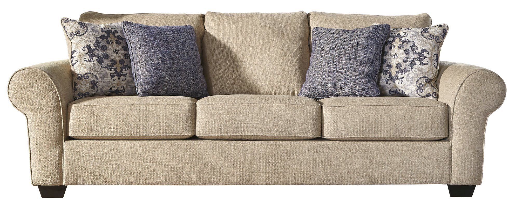 The Denite Cream Twill Sofa From Ashley Furniture Comes Upholstered In Creamy Beige Fabric Accented By Rolled Arms And Tufted Trim For A