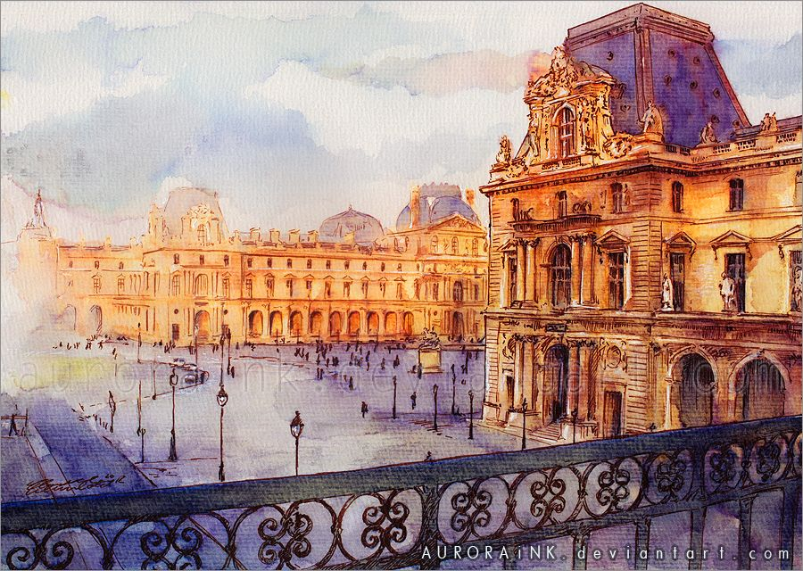 Louvre Watercolor Study By Aurorawienhold Deviantart Com On