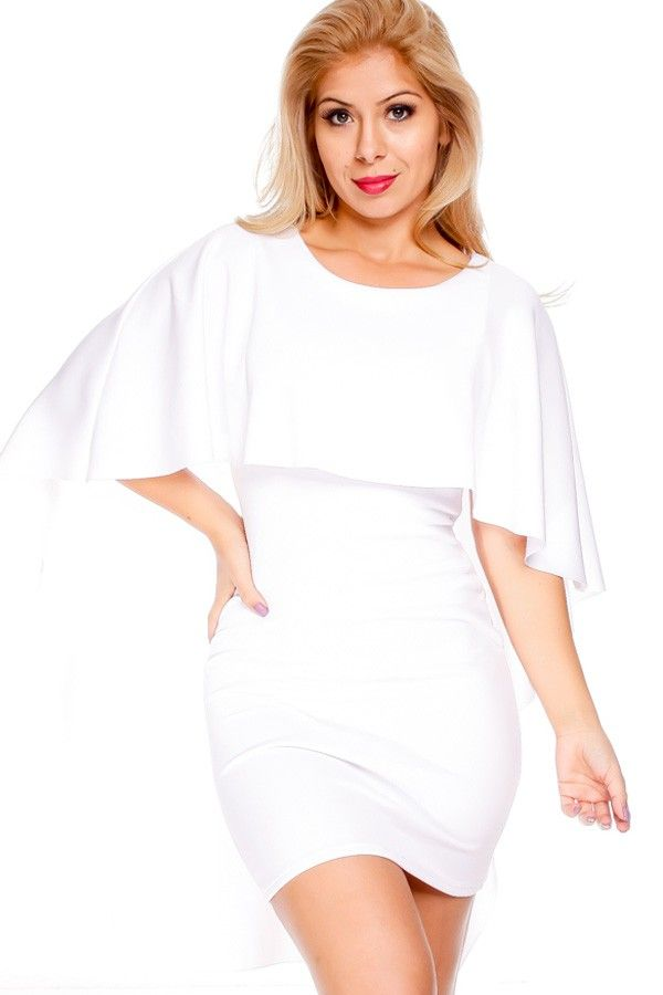 WHITE FITTED CAPE DESIGN LONG PARTY DRESS | Dresses | Pinterest ...
