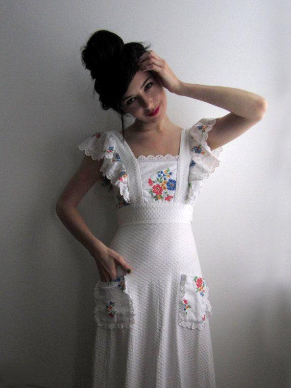 70s White Floral Maxi Dress