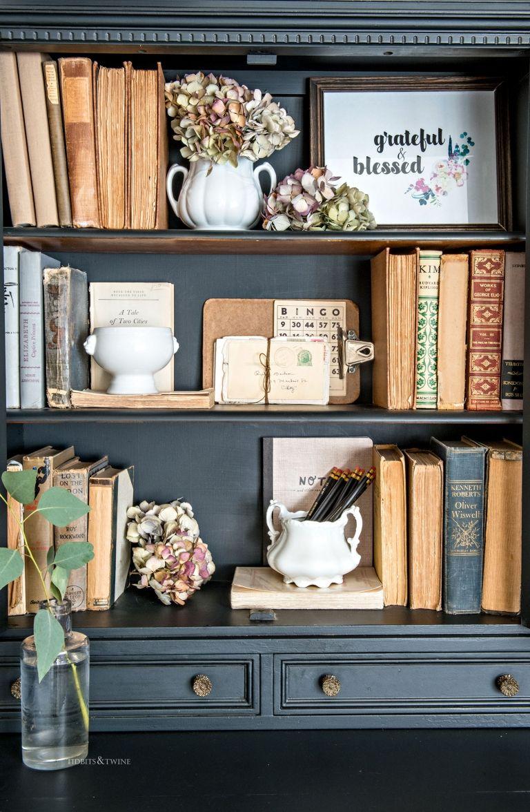 Free Fall Printable Grateful Blessed Bookcase Decor Bookshelf Decor Decorating Bookshelves