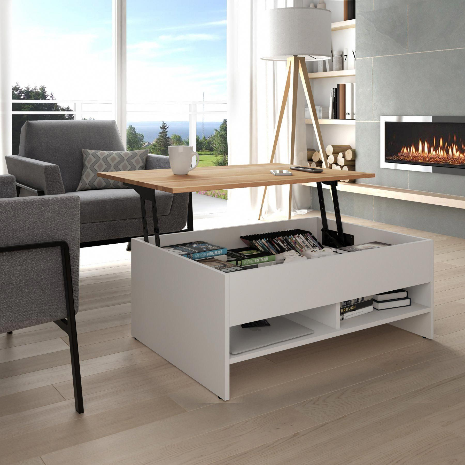 Bestar small space storage coffee table with lifttop