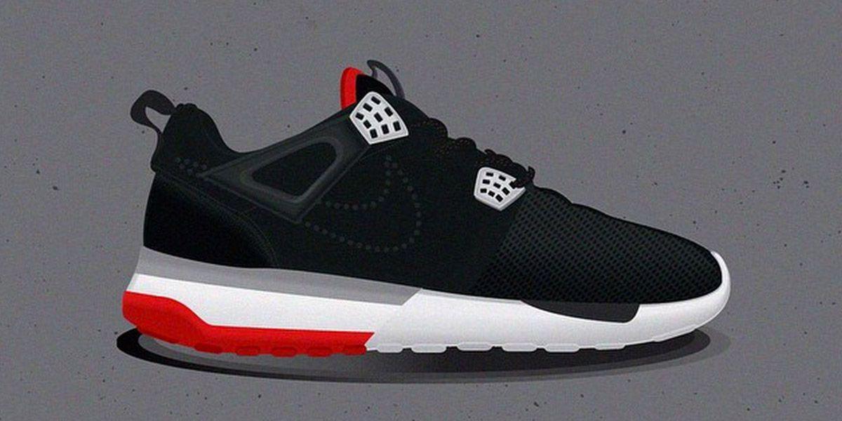 Nike Roshe Run x Air Jordan 4 Black Red mashup by  sneakerpie ... 15c5853497