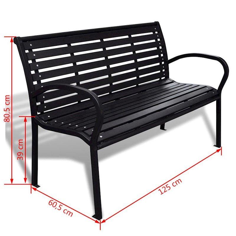 Vidaxl Garden Bench With Steel Frame Outdoor Park Lounge Patio