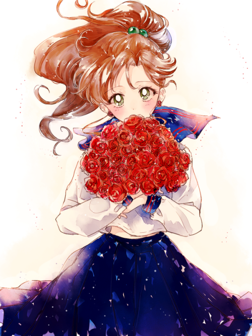 Makoto (Sailor Jupiter). I like this fan art of her, she looks like her inner romantic. Makoto is one of my favorite characters. She's complex and understandable at the same time. Visual. Inspirational. Internet.