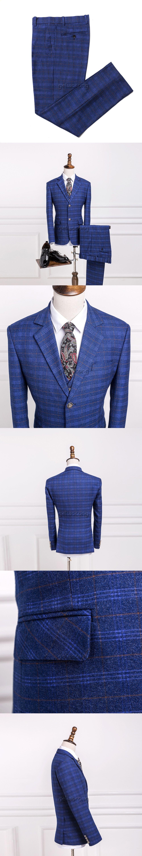 Geliaocong brand classic tweed wool blue herringbone retro groom