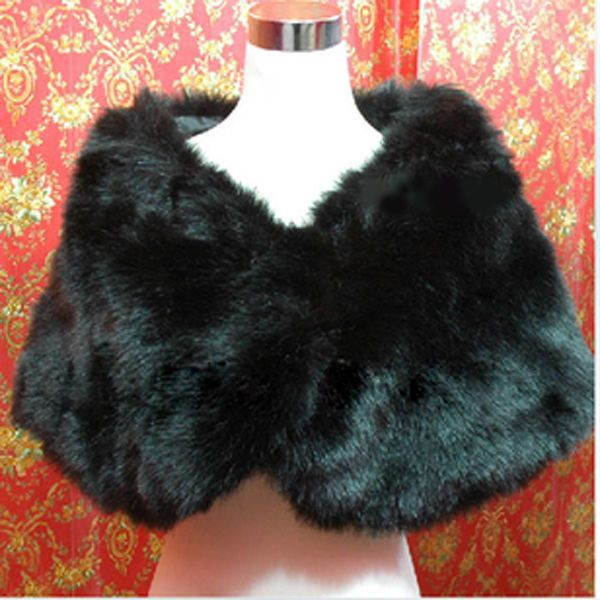 Charming Black Faux Fur Pearl Shrug Cape Stole Wrap Shawl Wedding Bridal US EF $10.40 free shipping