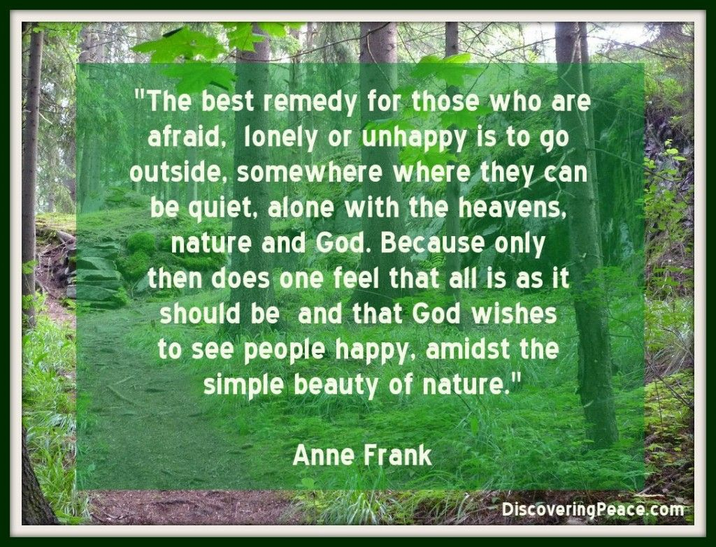 Simple Beauty of Nature Quote by Ann Frank | Discovering Peace