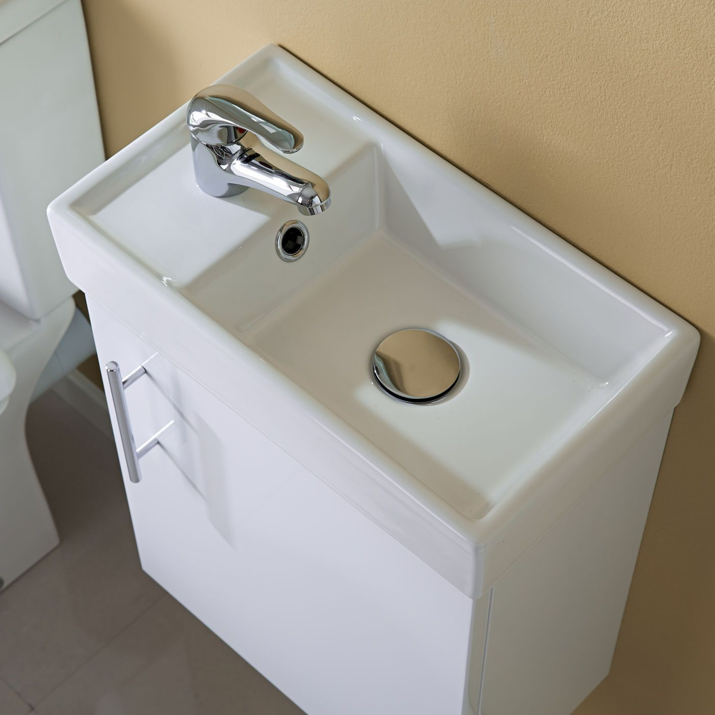 400mm Modern White Compact Wall Hung Vanity Unit Bathroom Cloakroom Basin  Sink. 400mm Modern White Compact Wall Hung Vanity Unit Bathroom