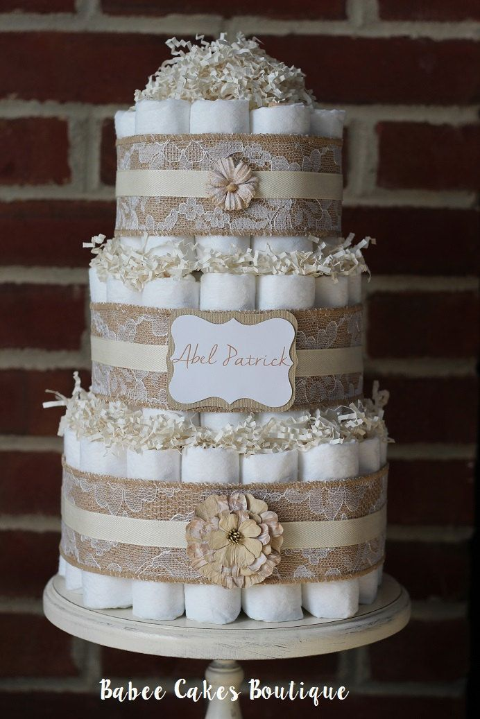Three tier shabby diaper cake pink burlap and lace