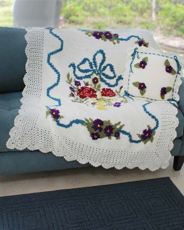 English Garden Afghan and Pillow Crochet Pattern