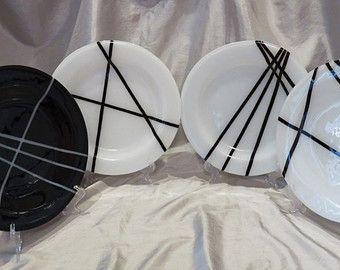 Fundida de placas de vidrio, placas de blanco y negro, placas de vidrio de arte, conjunto de placas de vidrio, platos contemporáneos, set de vajilla de vidrio arte.