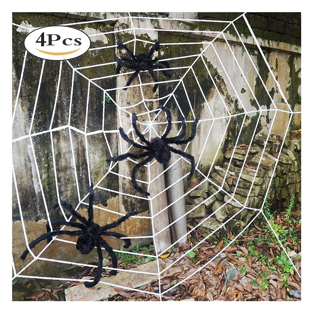 11 5 Feet Spider Web With 3pcs 2 Feet Large White Halloween Spider For Halloween De Fun Halloween Decor Halloween Spider Halloween Spider Decorations