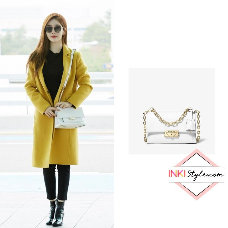 Yoo In Na Looked Like A Superstar At Incheon Airport All Black Outfit All White Outfit Leather Crossbody Bag Small
