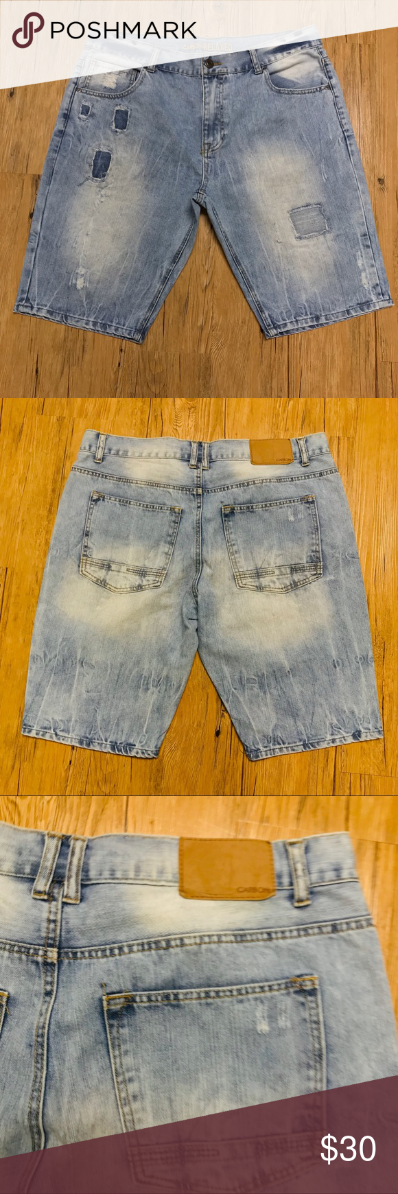 Light blue ash wash men Jean shorts size 36 Carbon light blue ash wash shirts size 36. Designer Ripped denim shorts perfect to pair with a white tee. Preowned in great condition. Carbon Shorts Jean Shorts #lightblueshorts