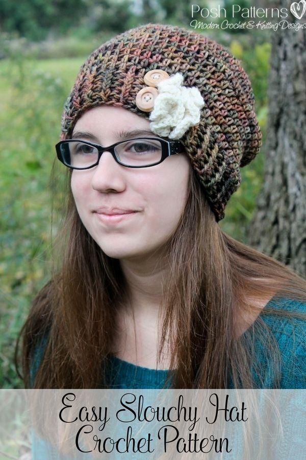 Excepcional Easy Slouchy Crochet Hat Pattern Molde Manta De Tejer