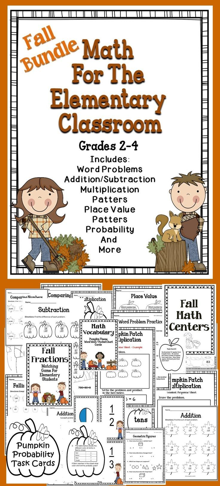 Fall Math Centers and Printable Activities Homeschool