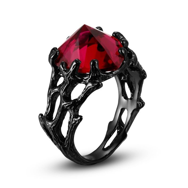 womens black ring ruby heart 925 sterling silver gothic style the black queen for - Gothic Wedding Rings