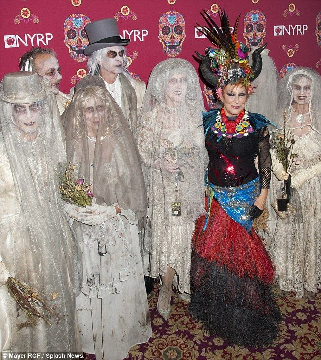 The corpse wedding party: The two-time Oscar nominee was joined at the Waldorf Astoria by five ghost brides and two matching chalk-faced grooms