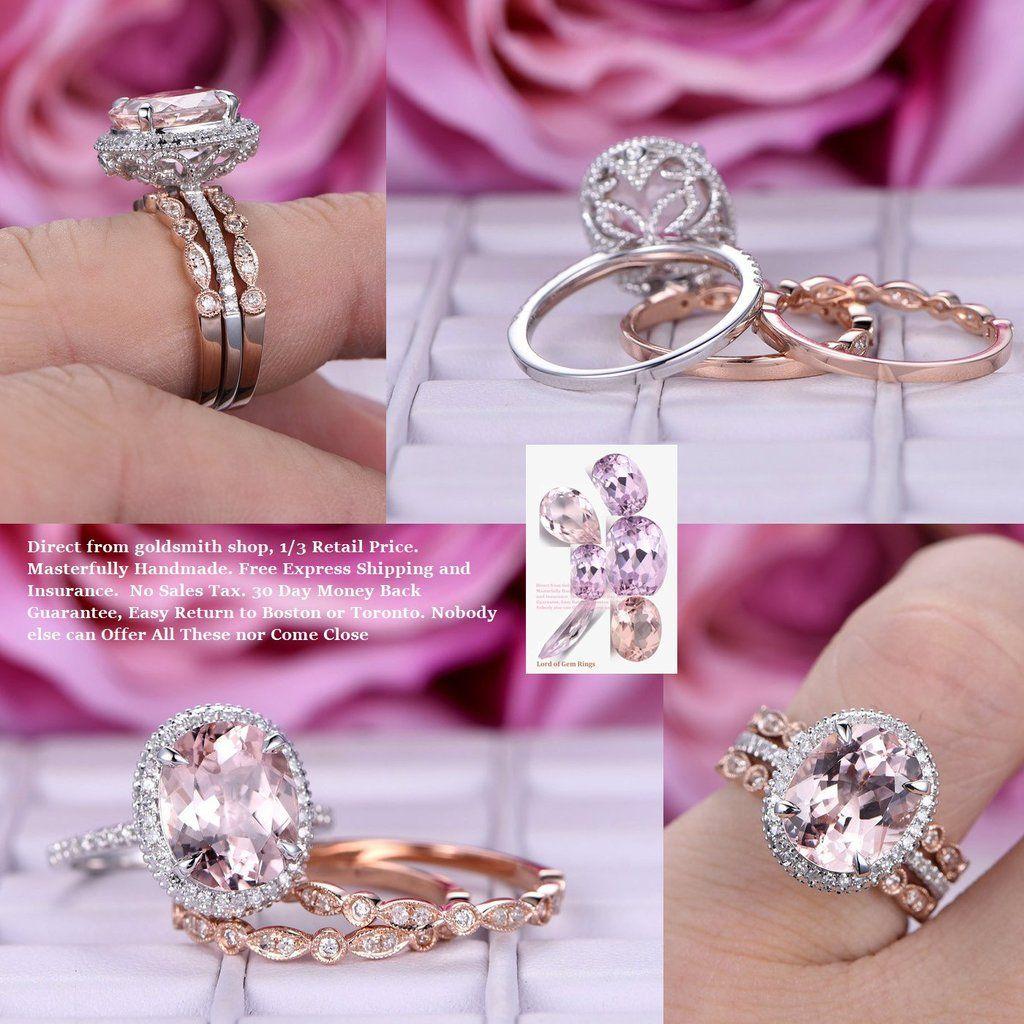 Oval Morganite Engagement Ring Trio Sets Pave Diamond Wedding 14K ...