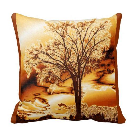 Golden Tree Of Life Throw Pillow