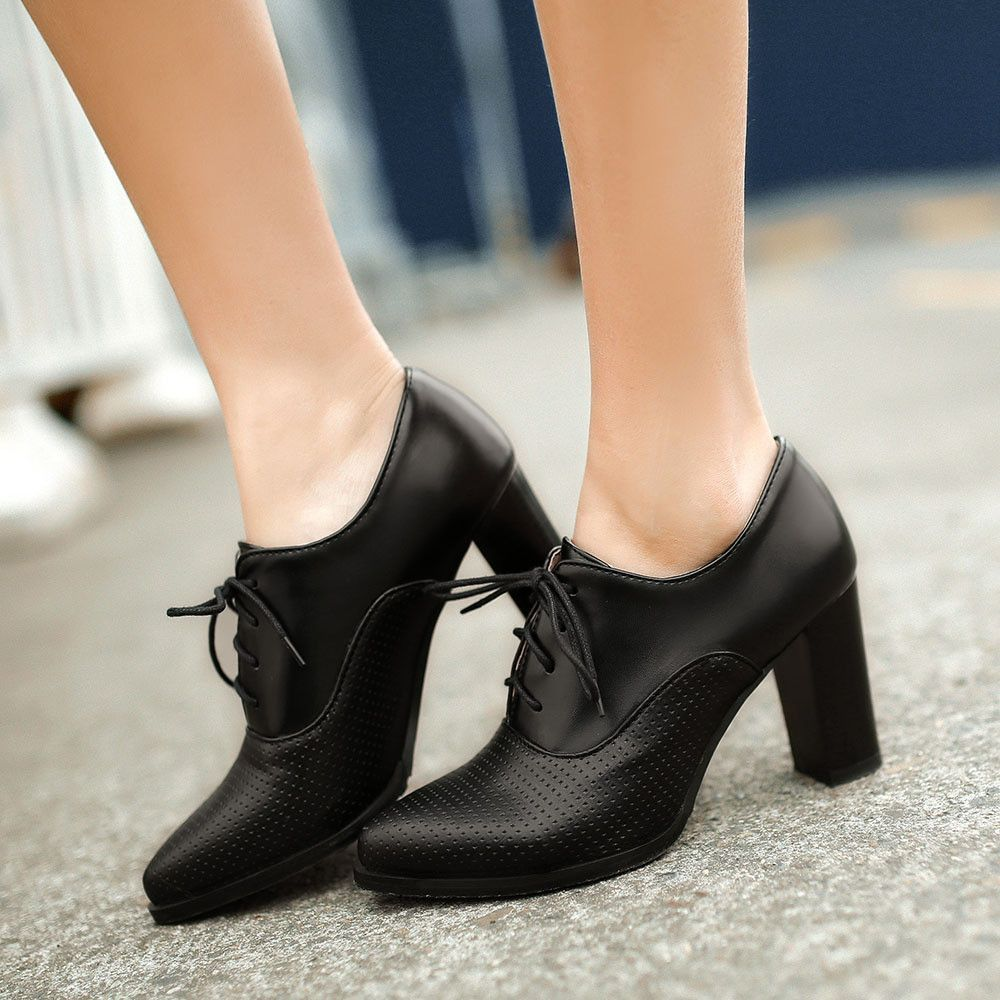 Lace Up Pointed Toe Women Chunky Heel Pumps Platform High Heels ...