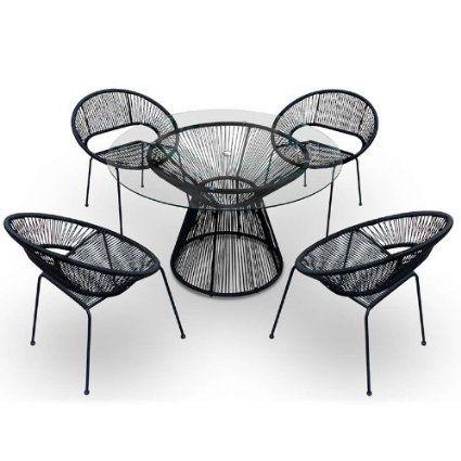 Amazon Com Harmonia Living 5 Piece Acapulco Patio Dining Set Jet Black Patio Lawn Garden Dining Furniture Sets Outdoor Dining Furniture Furniture