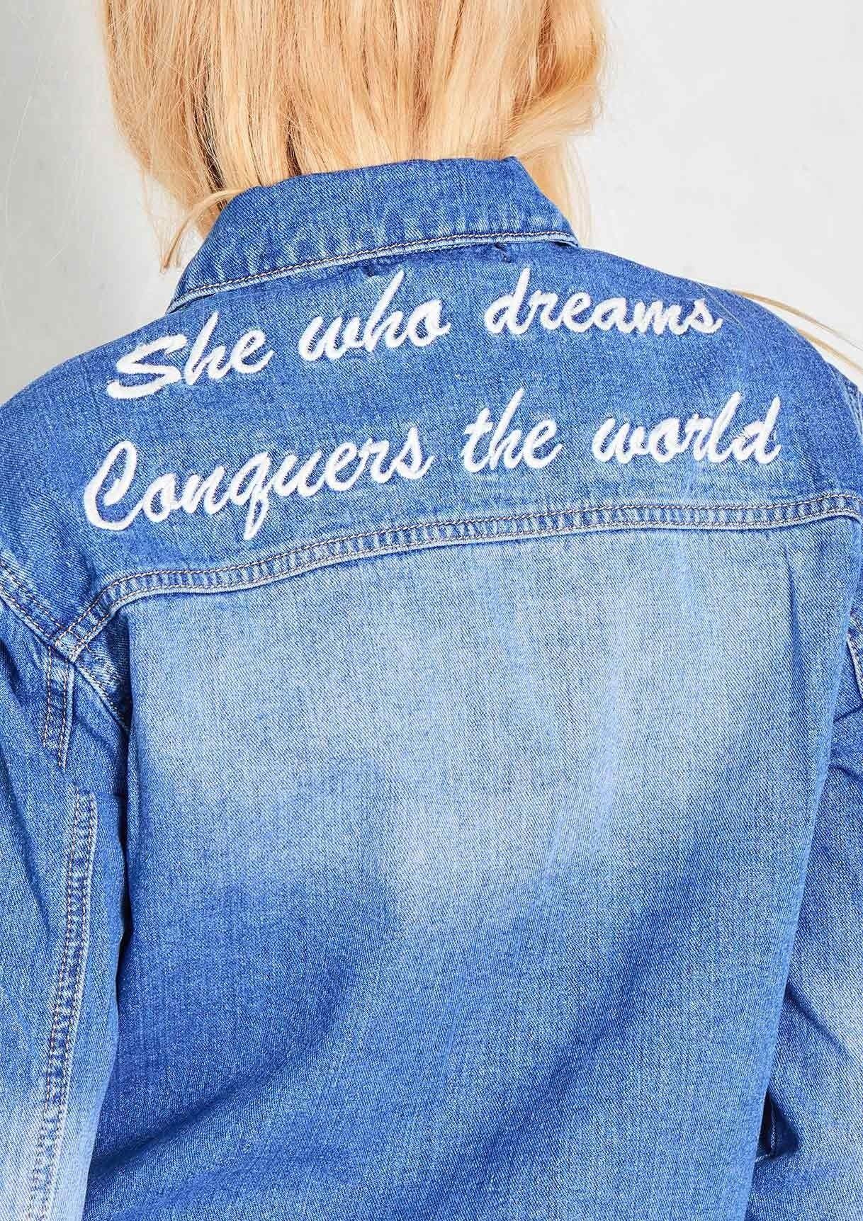 Trisha Frayed Hem Slogan Print Denim Jacket Printed Denim Jacket Denim Jacket Denim [ 1724 x 1218 Pixel ]