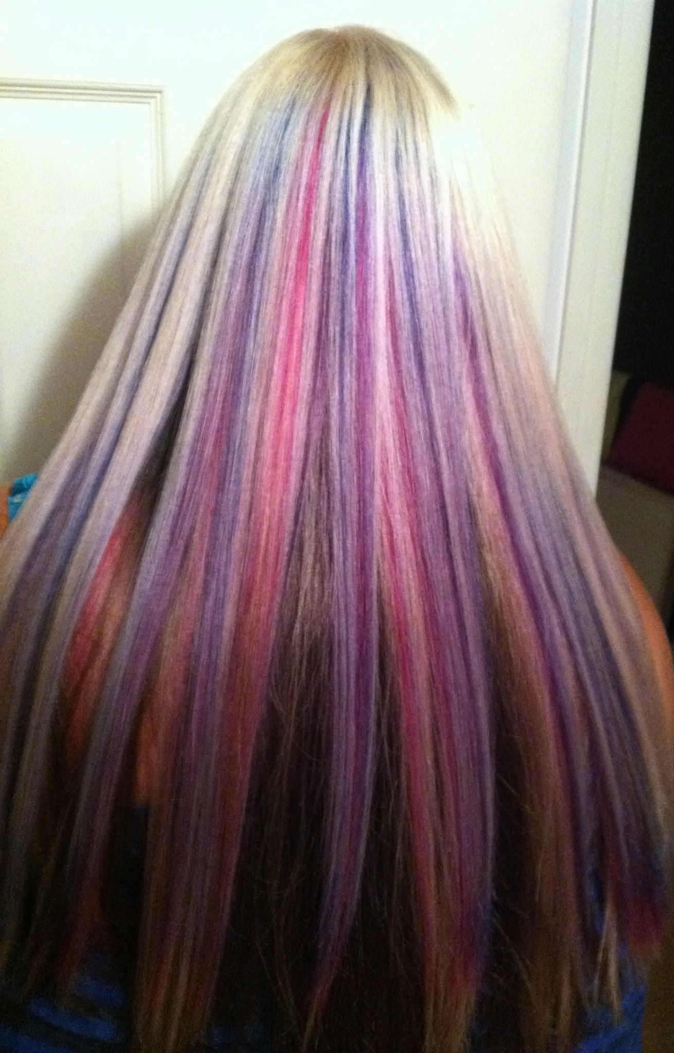 Pink Blue Purple Highlights Blond On Top Dark Brown Underneath Colored Hair Tips Natural Red Hair Purple Hair Highlights