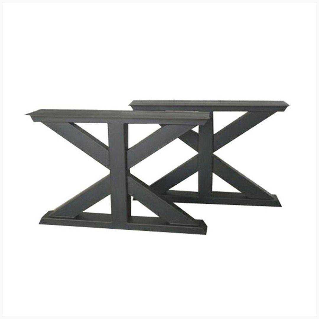 Farmhouse industrial trestle metal table legs black