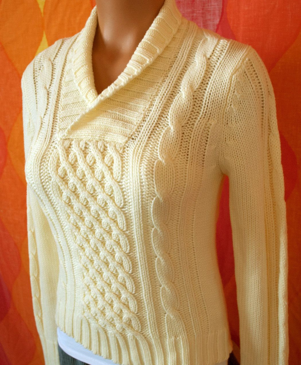 vintage 70\'s ivory cream cable knit shawl collar fisherman sweater ...