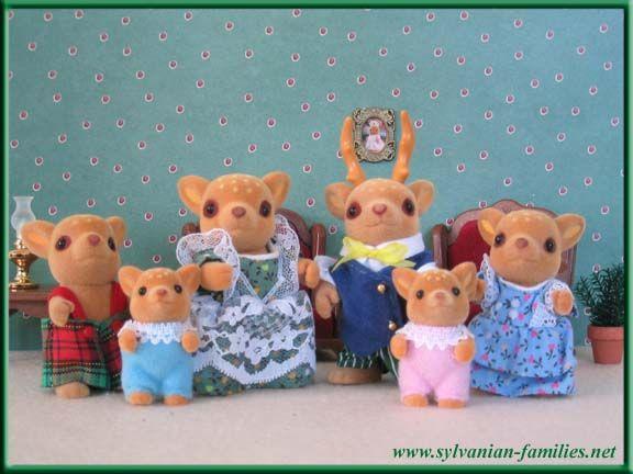Calico Critters / Sylvanian Families Moss Deer Family, Dad Deer, Mom Deer, and children