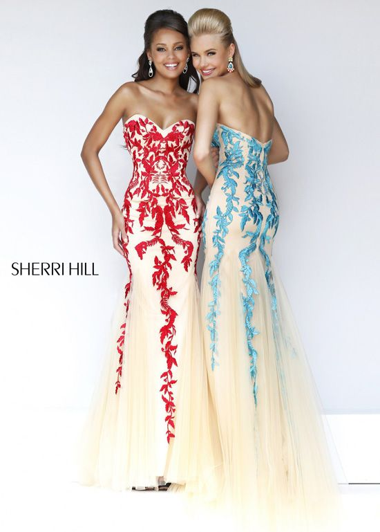 Sherri Hill 1921 - Nude/Red, Nude/Turquoise Prom Dresses Online #thepromdresses