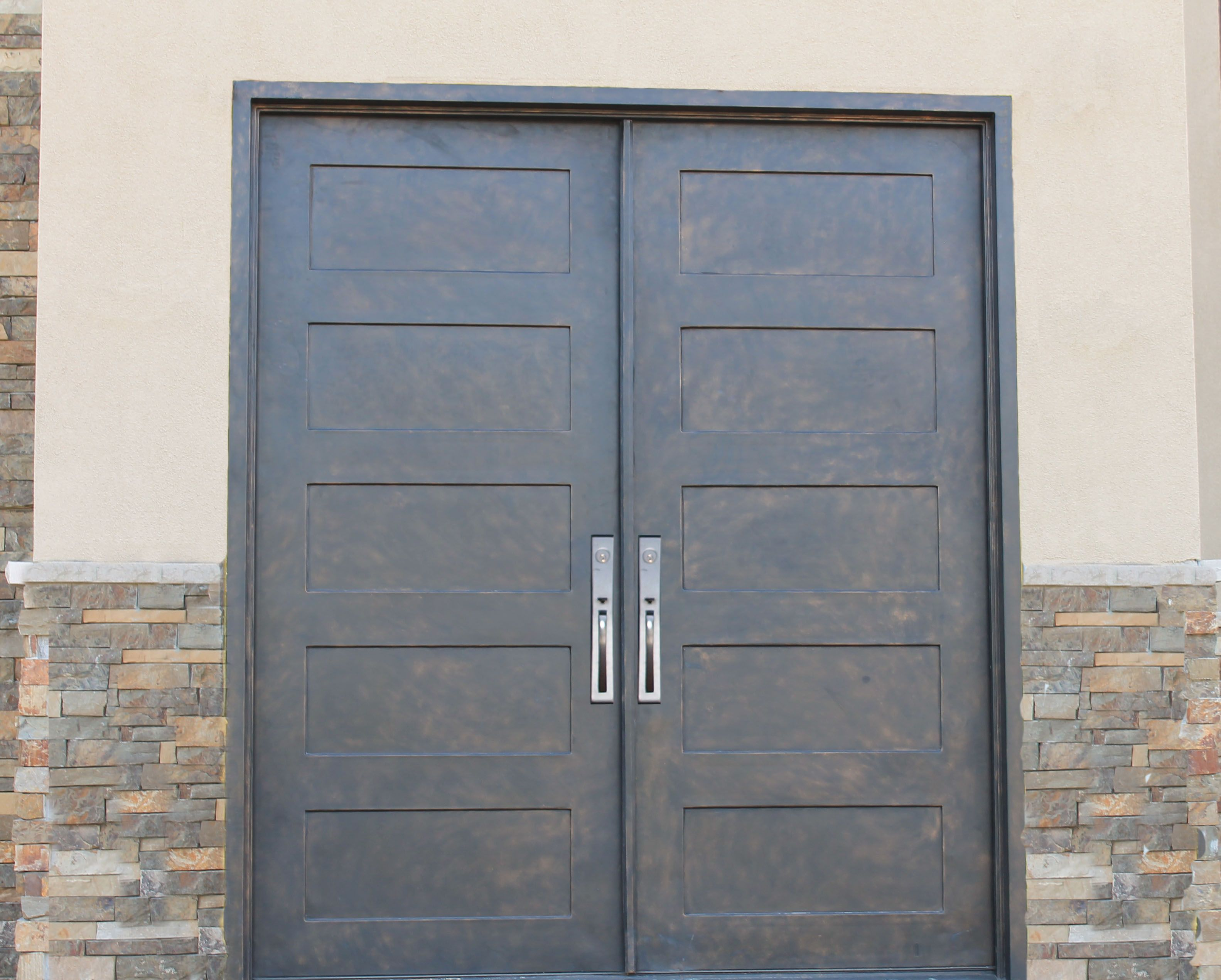 Full Lite Square Top Square Glass Double Iron Door 72 x96 . Midwest Iron : midwest doors - pezcame.com