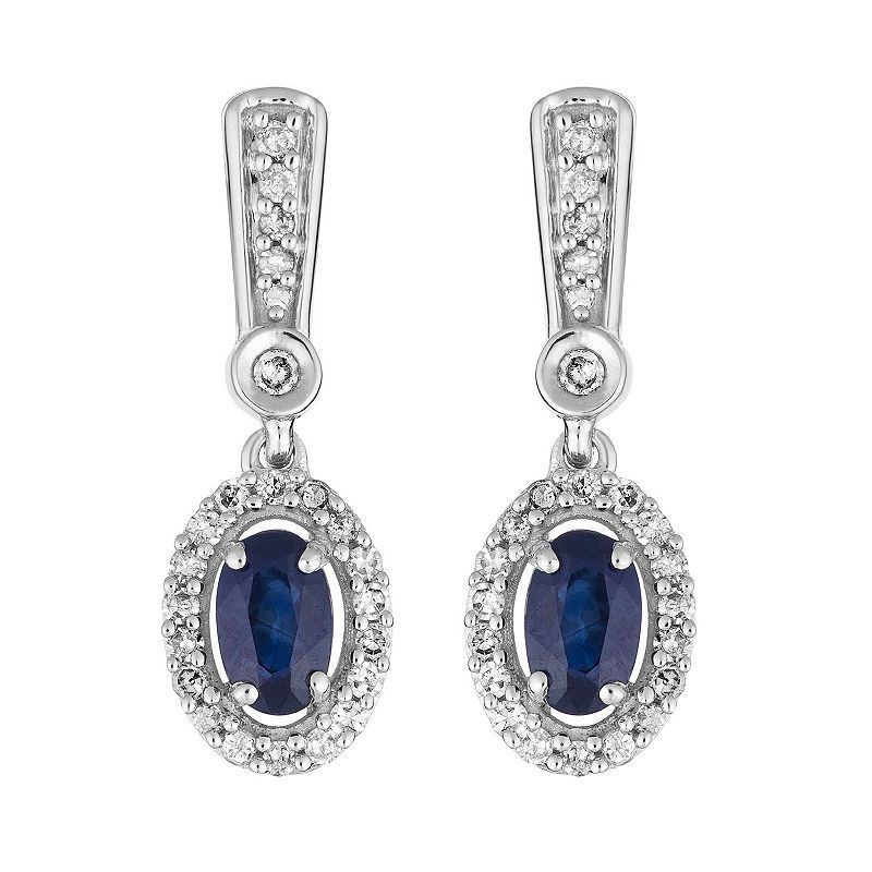 1 5 Ct T W Genuine Blue Sapphire 10k White Gold Drop Earrings White Gold Sapphire Diamond Drop Earrings White Gold Drop Earrings