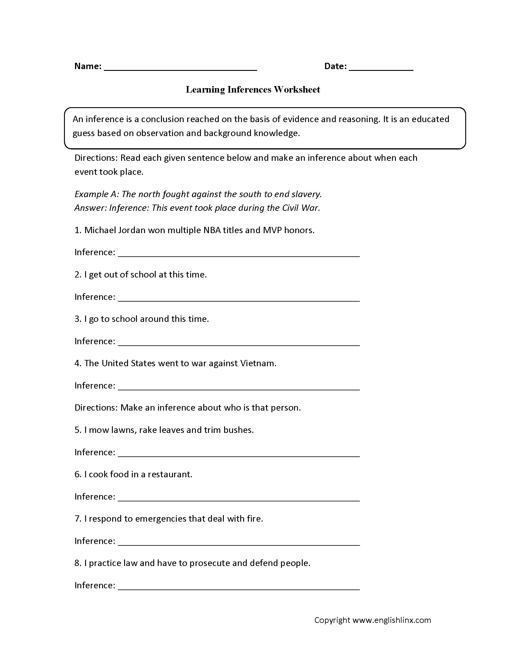 Learning Inference Worksheets