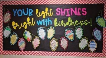 Lights of Kindness - Holiday Craft and Writing Activity! #decemberbulletinboards