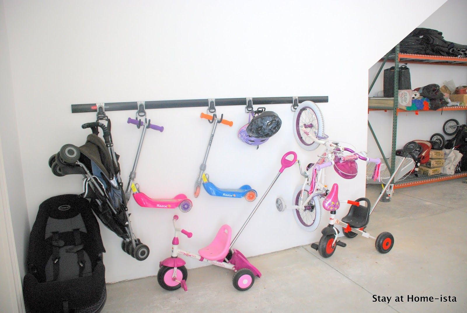 Garage Organization Ideas For Scooters Umbrella Stroller Helmets Ect Kids Room