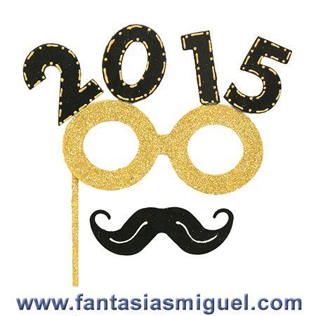 Antifaz Decorado Con Lentes Y Bigote Celebración Año Nuevo 2015, Negro Oro - Como Hacer Manualidades - Fantasias Miguel