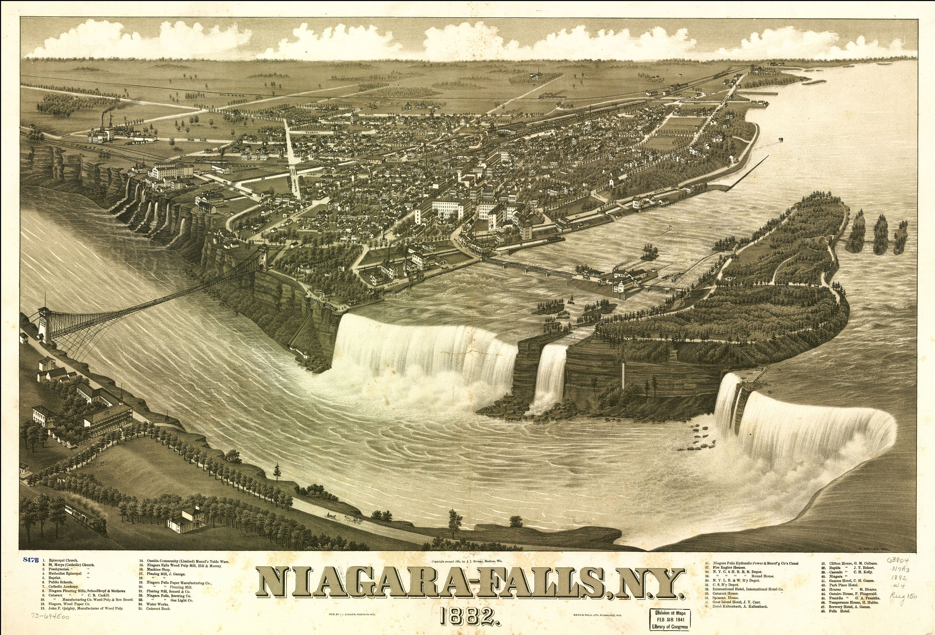 Church Niagara Falls from the American side Wood Framed Canvas Print Repro 11x14