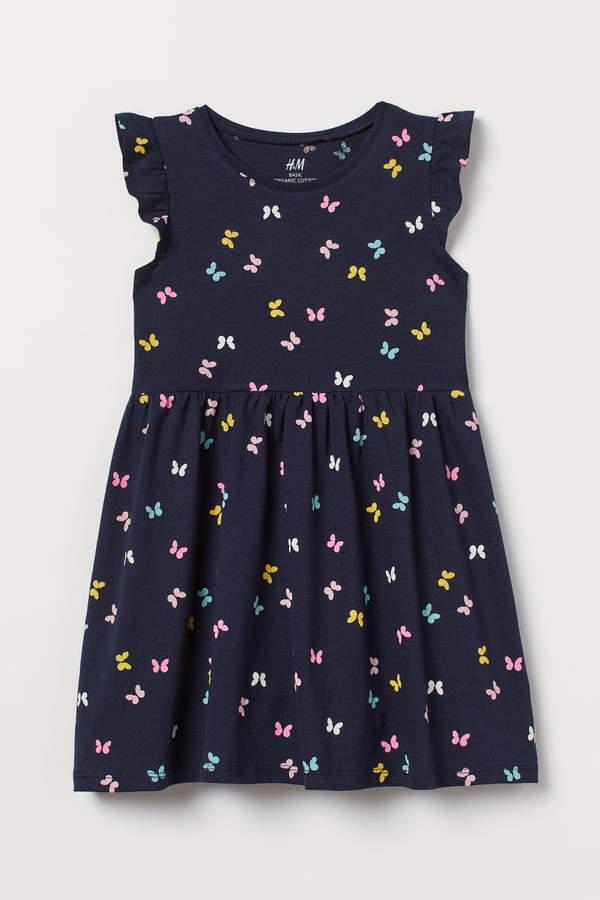 Girls H/&M Jersey Cotton Butterfly Dress White Spring Summer