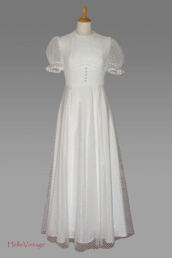 1950\'s vintage wedding dress, 50s Polka dots wedding gown, white ...