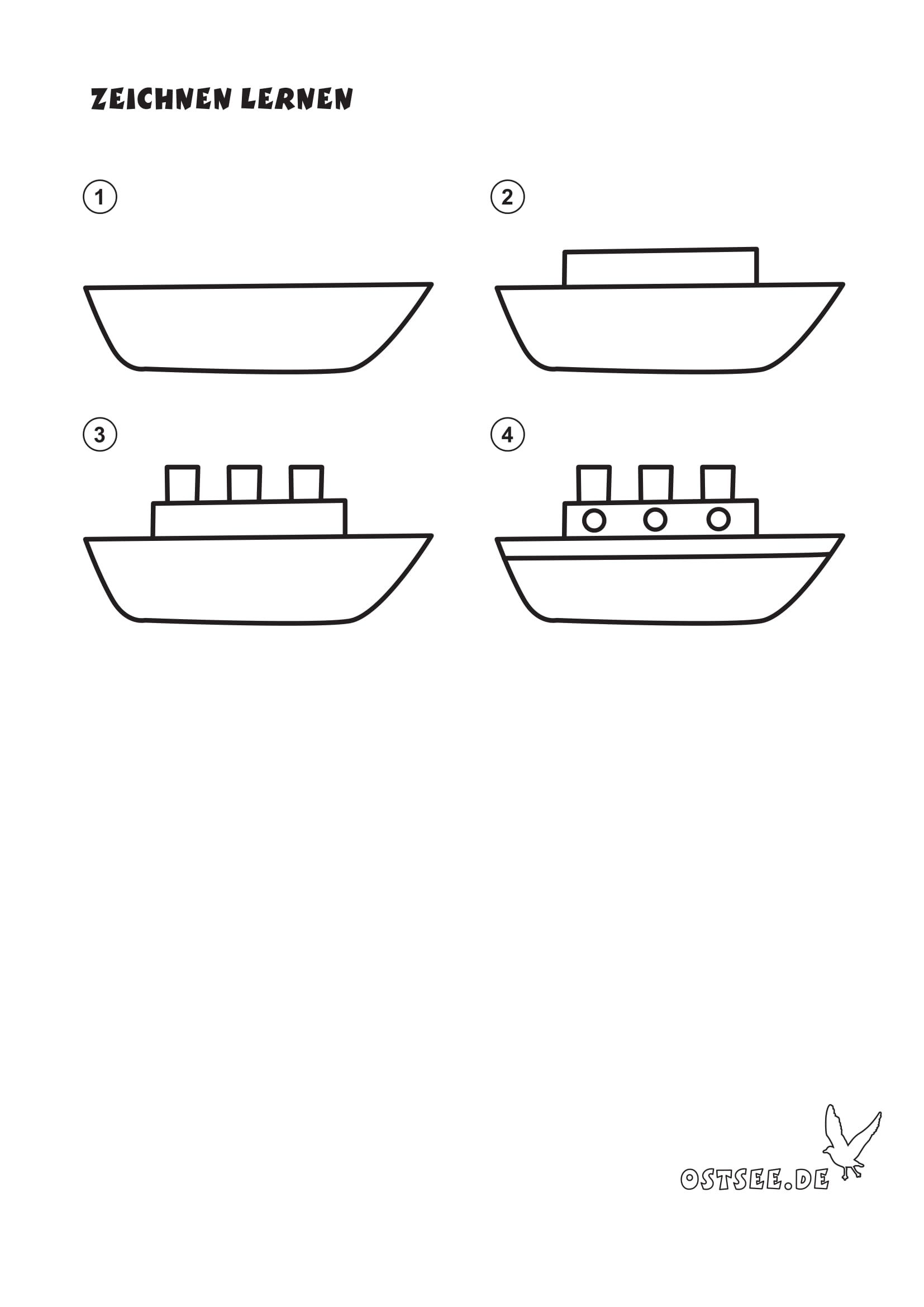 Nachzeichnen Schiff Schiff Kinder Basteln Und Malen Nachzeichnen
