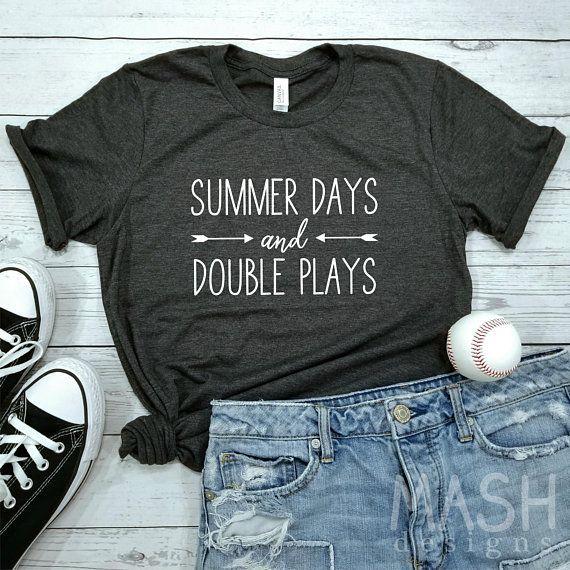 Photo of Baseball shirt, softball shirt, summer days and double plays shirt, baseball mom shirt, softball mom shirt, baseball sayings, baseball gift